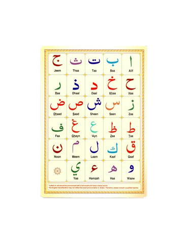 Arabic Alphabet Takhtee CARD - A4 Size