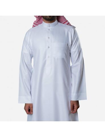 Classic Premium Thobe White (Button)